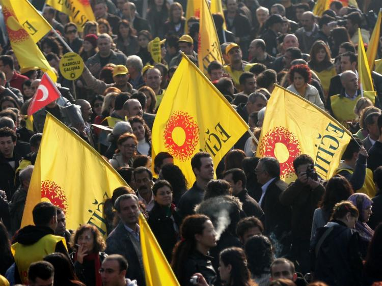 Members of Turkish civil servant unions gather at Beyazit Square during a one-day strike for better wages and working conditions in Istanbul on November 25, 2009. (Bulent Kilic/AFP/Getty Images)