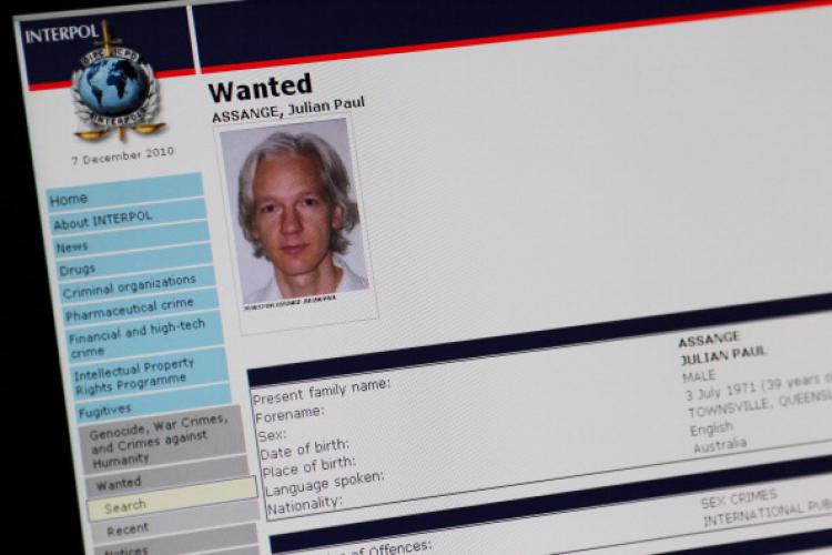 A picture shows the Interpol webpage with the portrait of Australian Julian Assange. (Thomas Coex/AFP/Getty Images)
