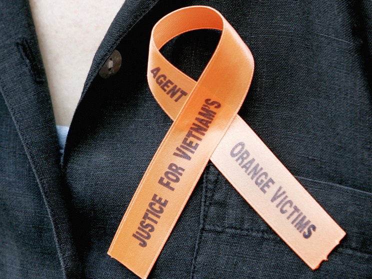 A ribbon worn by a protester supporting Agent Orange victims is seen outside of a New York court on June 18, 2007.
