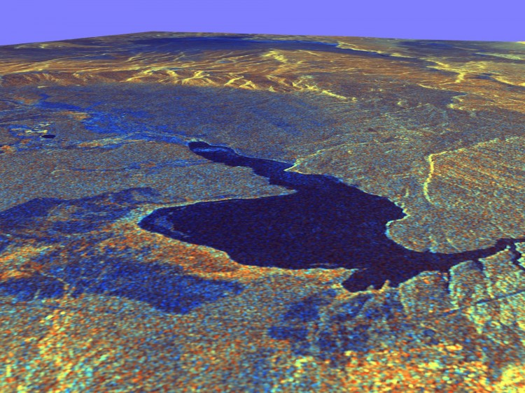 This three-dimensional view of Long Valley, Calif., was created from data taken by the Spaceborne Imaging Radar-C/X-band Synthetic Aperture Radar on board the space shuttle Endeavour. (NASA/JPL)