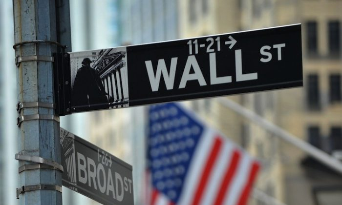 Street signs at the corner of Wall and Broad streets at the New York Stock Exchange on Aug. 8, 2011. (Stan Honda/Getty Images)