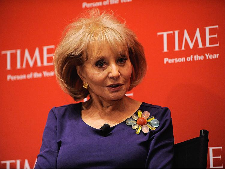 TV personality Barbara Walters speaks at the TIME's 2009 Person of the Year at the Time & Life Building on November 12, 2009 in New York City. (Jemal Countess/Getty Images for Time Inc)