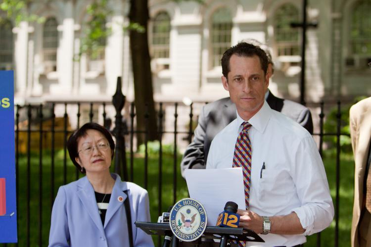 TAX BREAKS: U.S. Rep. Anthony Weiner compares tax cuts under the Bush and Obama administrations. (Christine Lin/Epoch Times)