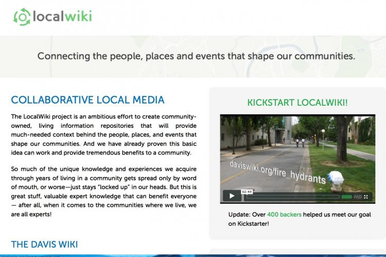 A screen shot of LocalWiki.org. ()