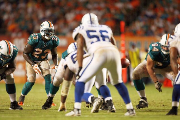 Running back Ronnie Brown, 23, of the Miami Dolphins takes a direct snap in the 'Wildcat' offense against the Indianapolis Colts earlier this season. ( Doug Benc/Getty Images)