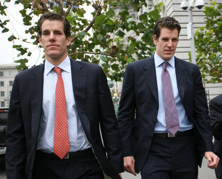 Cameron (L) and Tyler (R) Winklevoss leave the US Court of Appeals for the Ninth Circuit in San Francisco on Jan. 11. (Kimihiro Hoshino/AFP/Getty Images)
