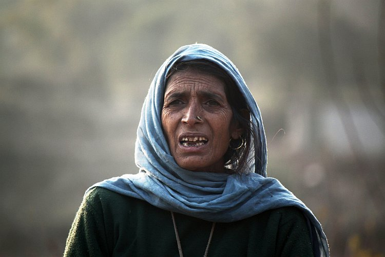 A woman on the mountainous borders of the Northern Indian state of Jammu and Kashmir