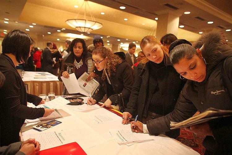 Young job seekers attend a career fair in Midtown Manhattan