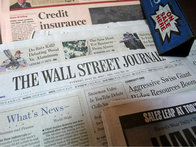 The Wall Street Journal sits on a downtown newsstand in New York City.   (Mario Tama/Getty Images)