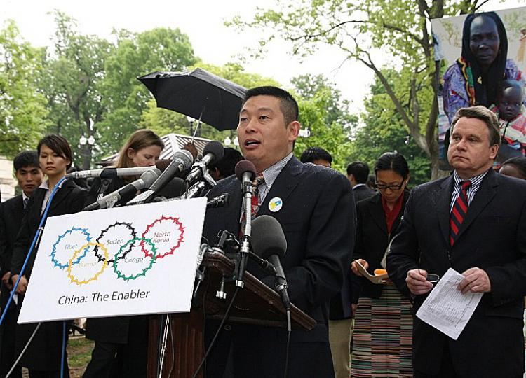 On May 1, Yang Jianli attended press conference at Russell Park in front of Capitol Hill, Washington D./C., USA. (Yiping/The Epoch Times)