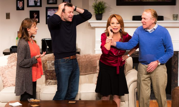(L–R) Jane (Kate Wetherhead), Billy (George Merrick) are happy new parents, or are they? Grandmother Alice (Marlo Thomas) is going to step in and fix everything (or is she?), while grandfather Bill (Greg Mullavey) helplessly watches. (Matthew Murphy)