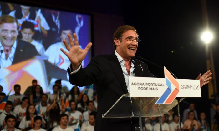 Social Democratic Party's leader and current Portuguese Prime Minister Pedro Passos Coelho at a political rally for the upcoming Oct. 5, 2015, government election, in Braga, on Sept. 27, 2015. (Francisco Leong/AFP/Getty Images)