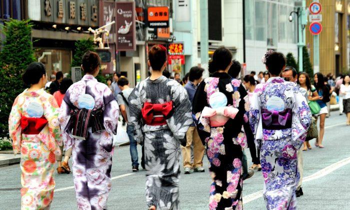 Yukata in Ginza,Tokyo. (Ming Liu/EpochTimes)