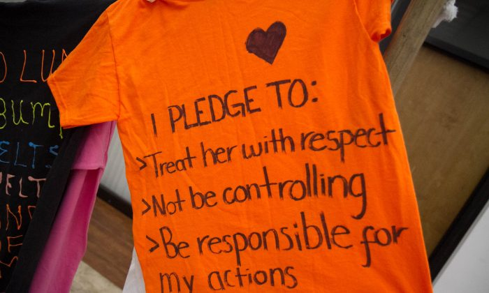 A part of the Clothesline Project that has a message from a survivor of domestic violence and or their loved one at Safe Homes of Orange County in Neuburgh on Oct. 2, 2015. The display was to recognize the beginning of Domestic Violence Awareness Month. (Holly Kellum/ Epoch Times)