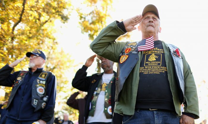 Vietnam War veterans salute at the Vietnam Veterans Memorial on the National Mall  in Washington on Nov. 11, 2013.  (Chip Somodevilla/Getty Images)