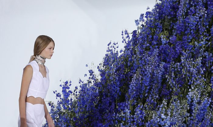 A model wears a creation for Christian Dior's Spring-Summer 2016 ready-to-wear fashion collection, presented during the Paris Fashion Week in Paris, on Oct. 2, 2015. (AP Photo/Francois Mori)