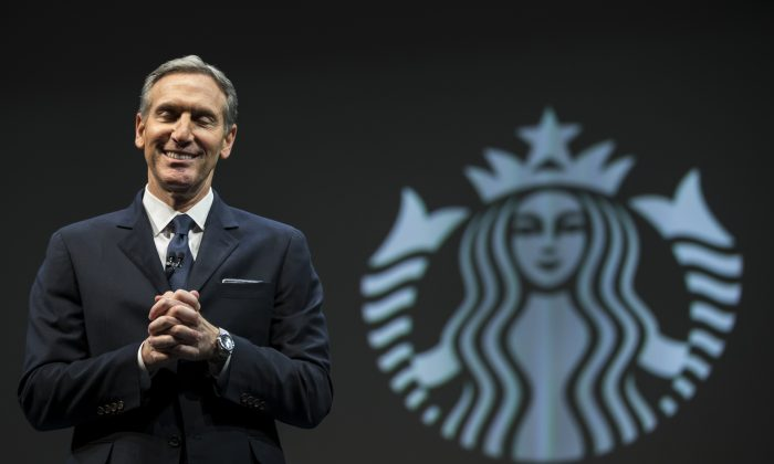 Starbucks Chairman and CEO Howard Schultz speaks during Starbucks annual shareholders meeting in Seattle, Wash. on March 18, 2015.  (Stephen Brashear/Getty Images)