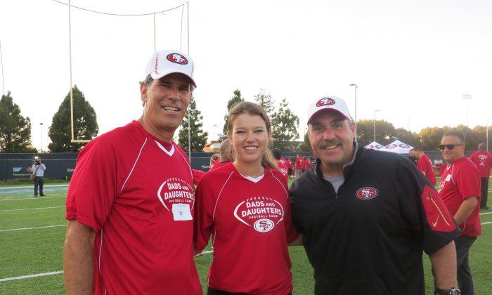 Retired San Francisco 49ers quarterback Steve Bono, his daughter Sophia, and 49ers head coach Jim Tomsula. (Courtesy of Lina Broydo)