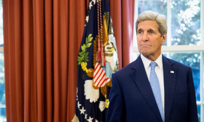 Secretary of State John Kerry in the Oval Office of the White House on Sept. 15, 2015. (AP Photo/Andrew Harnik)