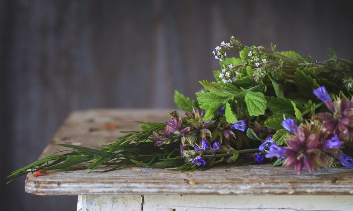 Assortment of fresh herbs mint, oregano, thym, blooming sage (NatashaBreen/iStock)