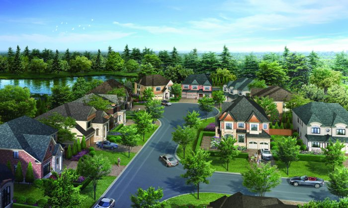 Rendering of a streetscape in The Enclave, a new phase at CountryWide's Upper Thornhill Estates community in Vaughan, Ontario. (Courtesy of CountryWide)
