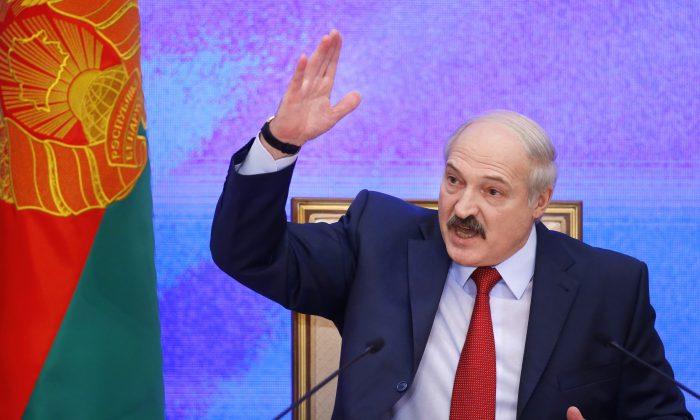 Belarusian President Alexander Lukashenko speaks during a news conference in Minsk, Belarus, on Jan. 29, 2015. (Sergei Grits/AP Photo)