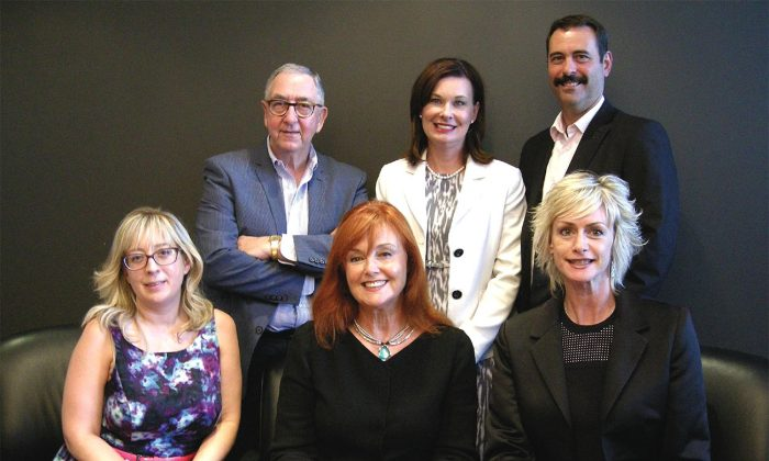 (Back L-R) David Eisenstadt, founder of tcgpr (The Communications Group Inc.); Linda O'Connor, CEO of Ryan Design; and David Klugsberg, president and COO of L.A. Inc. (Front L-R) Lianne McOuat, VP of strategy with McOuat Partnership; Barbara Lawlor, president and CEO of Baker Real Estate Inc.; and Tami Kenwell, president of Madhouse Inc. A recent Epoch Times roundtable brought together these top real estate sales and marketing players to discuss the importance of the Chinese market and offer insights into how they cater to it. (Epoch Times)