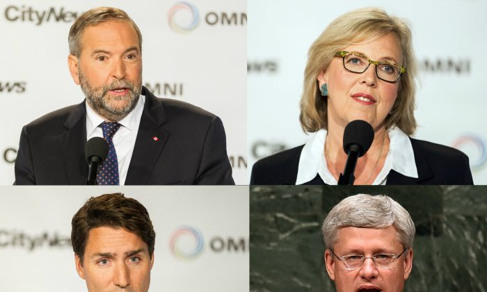 NDP leader Thomas Mulcair (Top L), Green Party leader Elizabeth May (Top R), and Liberal leader Justin Trudeau (Bottom L) at a press conference in Toronto, on Aug. 6, 2015. (Geoff Robins/AFP/Getty Images) Canada's Prime Minister and Conservative candidate Stephen Harper (Bottom R) at the 69th session of the U.N. General Assembly in New York on Sept. 25, 2014. (Jewel Samad/AFP/Getty Images)
