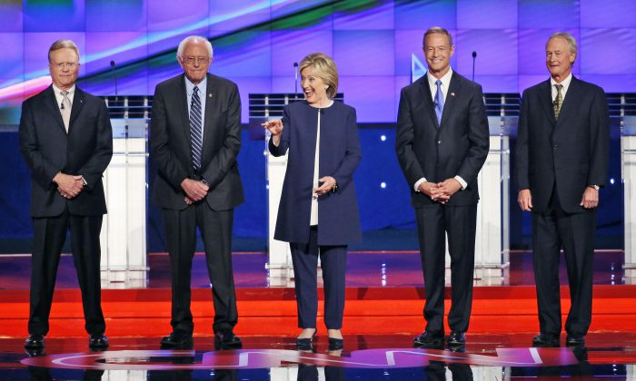 Democratic presidential candidates (L-R), former Virginia Sen. Jim Webb, Sen. Bernie Sanders of Vermont, Hillary Rodham Clinton, former Maryland Gov. Martin O'Malley, and former Rhode Island Gov. Lincoln Chafee on stage before the CNN Democratic presidential debate in Las Vegas on Oct. 13, 2015. (AP Photo/John Locher)