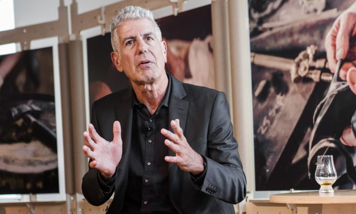 """Host of CNN's """"Parts Unknown"""" and chef Anthony Bourdain at the launch of his traveling exhibit, """"Raw Craft,"""" at the Hudson Mercantile in midtown Manhattan. (Samira Bouaou/Epoch Times)"""