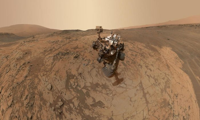 """A self-portrait of NASA's Curiosity Mars rover at the """"Mojave"""" site, where its drill collected the mission's second taste of Mount Sharp. (NASA/JPL-Caltech/MSSS via Getty Images)"""
