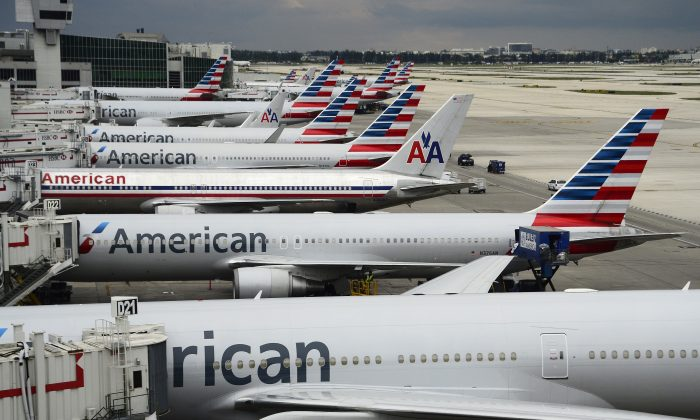 American Airlines passenger planes are seen on the tarmac at Miami International Airport in Miami, Florida on June 8, 2015. (Robyn Beck/AFP/Getty Images)