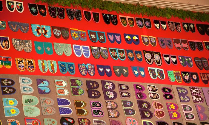 "Moccasin vamps, handmade by friends and relatives of missing or murdered aboriginal women, comprise ""Walking With Our Sisters,"" a travelling commemorative currently on display at Carleton University in Ottawa. (Melody McKiver)"