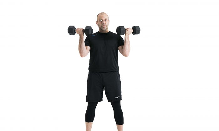 Dumbbell shoulder matrix movement 6. (Benjamin Chasteen/Epoch Times)