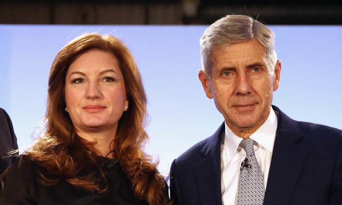 Baroness Karen Brady and Former Marks and Spencer boss and the current chairman of the 'Britain Stronger in Europe' campaign Lord Stuart Rose pose for a picture after a press conference at The Truman Brewery on October 12, 2015 in London, England. Stuart Rose was launching the 'Britain Stronger In Europe Campaign', setting out his vision to persuade voters to keep Britain in the EU.  (Dan Kitwood/Getty Images)