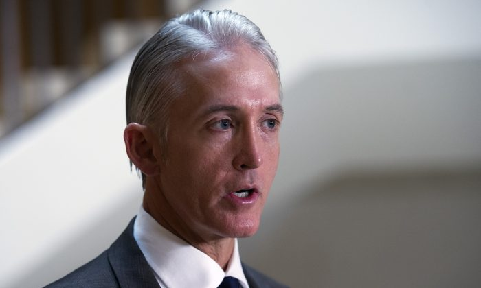 FILE - In this Sept. 4, 2015, file photo, House Select Committee on Benghazi Chairman Trey Gowdy, R-S.C., talks with the media on Capitol Hill in Washington. (AP Photo/Cliff Owen, File)