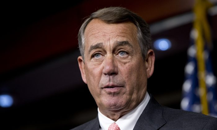 FILE - In this Sept. 25, 2015, file photo, House Speaker John Boehner, of Ohio, speaks during a news conference on Capitol Hill.  (AP Photo/Jacquelyn Martin, File)
