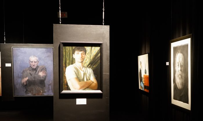 Some of the portraits in the Kingston Prize national portrait competition on display at the Firehall Theatre in Gananoque, Ont. (Courtesy of Kingston Prize)