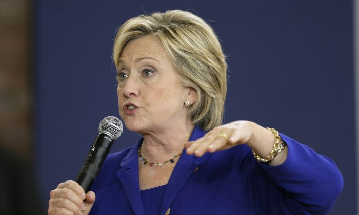 Democratic presidential candidate Hillary Rodham Clinton speaks during a community forum on healthcare at Moulton Elementary School in Des Moines, Iowa, on Sept. 22, 2015. (AP Photo/Charlie Neibergall)