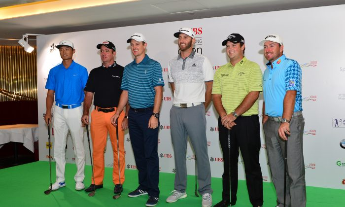 Six of the world's best players meet the press in Central Hong Kong on Tuesday Oct 20 just 2-days before the start of the UBS Hong Kong Open 2015. (L – R) Li Hao Tong (China), defending champion Scott Hend (Australia), Justin Rose (England) Dustin Johnson (America), Patrick Reed (America) and Graeme McDowell of Northern Ireland. (Bill Cox/Epoch Times)