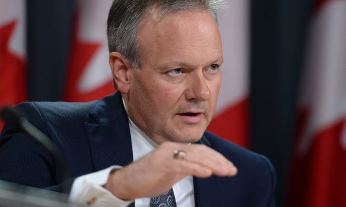 Bank of Canada governor Stephen Poloz speaks during a press conference at the National Press Theatre in Ottawa on Oct. 21, 2015. Canada's central bank lowered growth forecasts for 2016 and 2017. (The Canadian Press/Sean Kilpatrick)