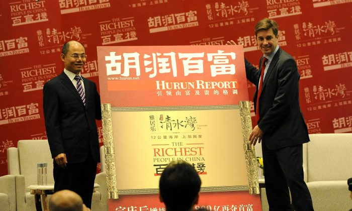 Rupert Hoogewerf (R), best known as Hurun, announces China's richest list in Beijing on Oct. 19, 2012. (Wang Zhao/AFP/Getty Images)