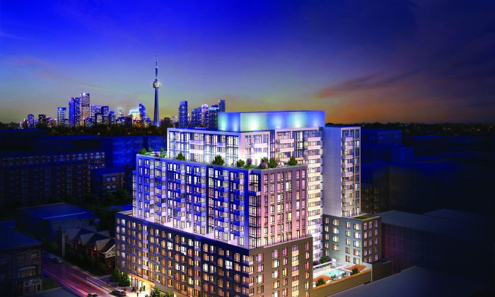 Rendering of Musee Condos, currently under construction at Adelaide St. W and Bathurst St. in Toronto and set for occupancy next summer. (Courtesy of Plaza Corp.)