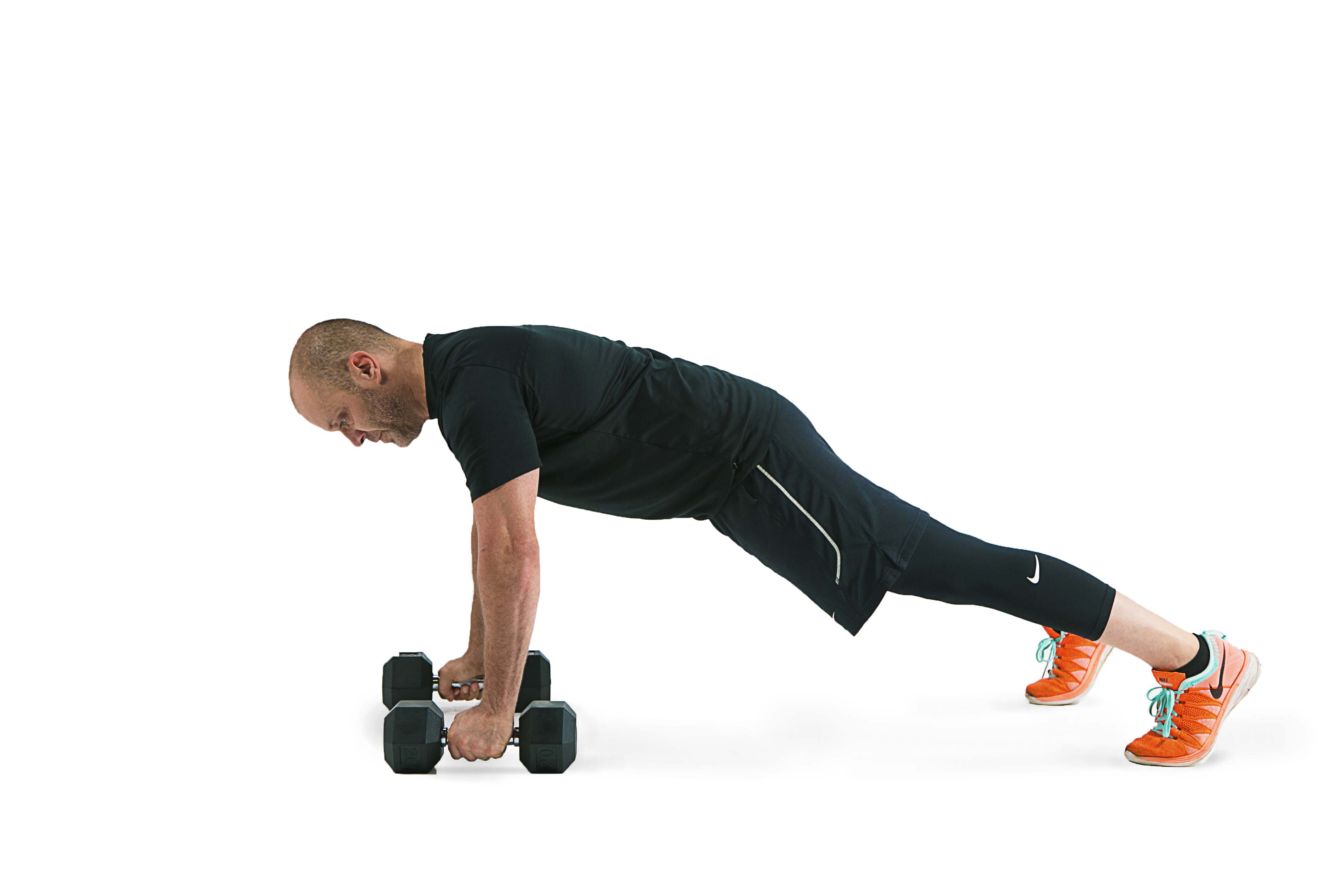 Dumbbell Push-Up With Dumbbell Row