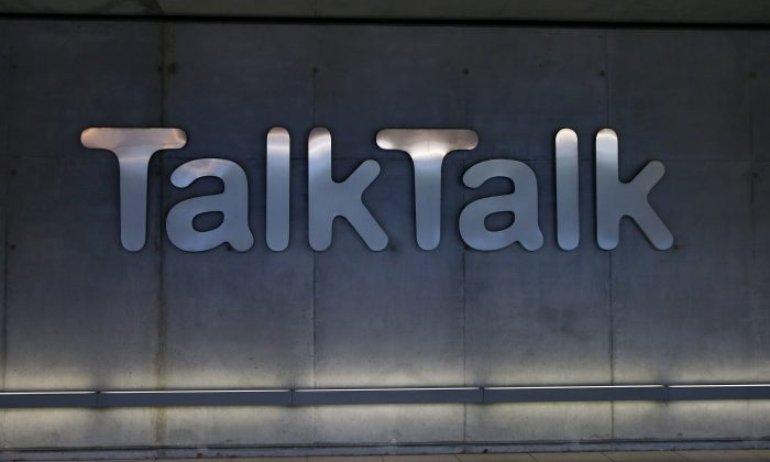 Signage on the exterior of TalkTalk telecommunications company headquarters in London, England, on Oct. 23, 2015. (Carl Court/Getty Images)