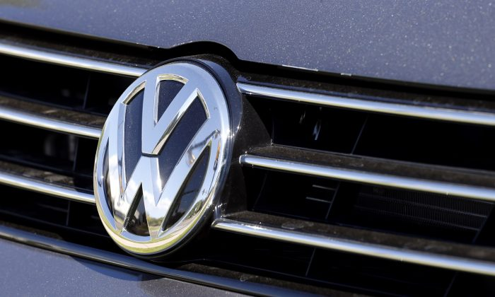 The grille of a Volkswagen car in Boulder, Colo., on Sept. 24, 2015. (AP Photo/Brennan Linsley)