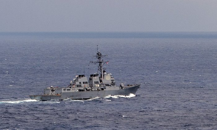 The guided missile destroyer USS Lassen during an operation in the South China Sea on July 7. On Tuesday the ship sailed past artificial island made by China in the South China Sea. (Mass Communication Specialist 2nd Class Joe Bishop/U.S. Navy)