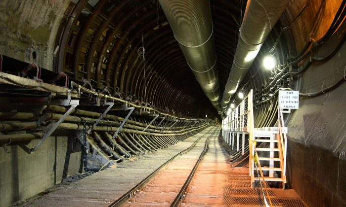 A rail tunnel descending into the Yucca Mountain nuclear waste repository located in Nye County, Nevada, on Feb. 22 2004. (MAXIM KNIAZKOV/AFP/Getty Images)