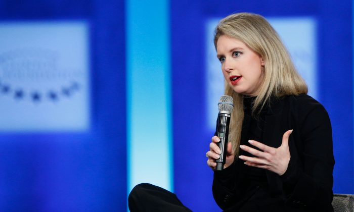 Elizabeth Holmes speaks on stage during the closing session of the Clinton Global Initiative 2015 in New York City on Sept. 29.  (JP Yim/Getty Images)