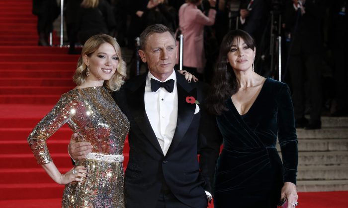 Lea Seydoux, Daniel Craig, and Monica Bellucci attend the Royal Film Performance of 'Spectre' at Royal Albert Hall on Oct. 26, 2015. (John Phillips/Getty Images)